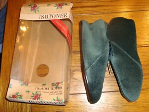 Isotoner Country Comfort Slippers - Vel Boot Hunter Green Size XL 9.5-10.5 - NOS