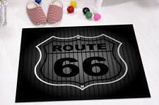 Kitchen Bathroom Bath Door Mat Rug Memory Foam Striped Black Background Route 66