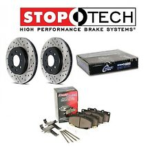 StopTech Set of Front Drilled Slotted Brake Rotors PQ Metallic Pads for 350Z G35