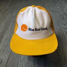 Vtg Hilton Head Island Yellow Baseball Cap Snapback Hat Adjustable Back