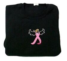 Breast Cancer Sweatshirt 4XL Pink Ribbon Angel Black Crew Neck Centered Chest