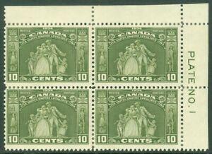 EDW1949SELL : CANADA 1934 Sc #209 P/B of 4 Upper right #1 F-VF, MOG HR Cat