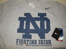 Nike Notre Dame 2013 Bcs Bowl T Shirt New Nwt Football Irish Grey Cotton Mens Xl