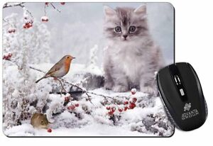 Kitten & Robin in Snow Print Computer Mouse Mat Birthday Animal Gift Cat AC-119M