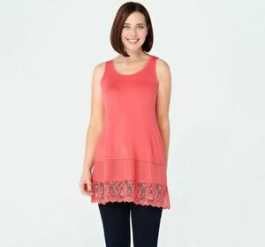 LOGO by Lori Goldstein Knit Tank with Satin and Lace Trim A274074 Coral PS