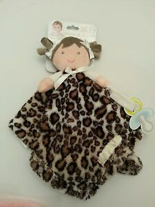 Blankets And Beyond Baby Girls Security Lovey Soft Doll Dolly Brown Cheetah NWT