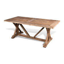 French Farmhouse Rustic Recycled Reclaimed Elm Wood Dining Table 8 Seater