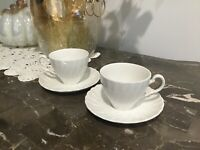 Vintage johnson brothers Regency, White Cup & Saucer, Set of 2 Cups 2 Saucers