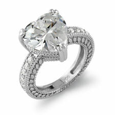 Heart Round Cubic Zirconia Wedding Solitaire Engagement Ring Sterling Silver Sz5