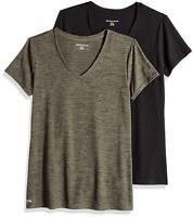 Essentials Women's 2-Pack Tech Stretch Short-Sleeve, Green, Size Medium