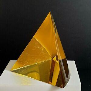 Signed Studio Glass Curved Side Pyramid Sculpture 2014 Bohemian Czech ? Baer ?