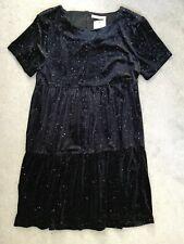 M&S BLACK VELVET GLITTER DRESS WITH SHORT SLEEVES & GATHERED ROWS -14-15y BNWT