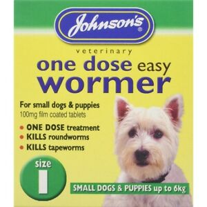 Johnsons Wormer Dog Worm Worming Tablets Size 1 Small Dogs Tapeworm Up To 6kg