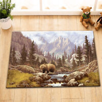 Mountain Forest Brown Bear Floor Memory Foam Carpet Rug Non-slip Door Bath Mat