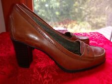 Women's Brown Leather Penny Loafer Block Heel Pumps w/ animal print insoles Sz 6