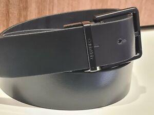 New Calvin Klein Men's Smooth Leather 32 inch Belt Black & Navy