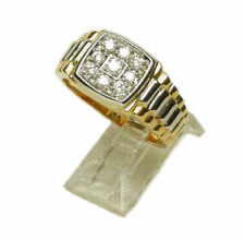 Mens Gents Natural Diamond Cluster Ring 14K TwoTone Gold 3/8ctw G-H Color SI NWT