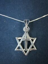 """Messianic Sterling Silver Star of David Cross Pendant Necklace 925 18"""" Box Chain"""