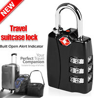 New Heavy Duty TSA 3 Digit Combination Travel Suitcase Lock Steel Padlock-Black