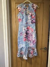 Lipsy Blue Floral dress Lace Cutout Peplum Back Detail Wedding Size 8