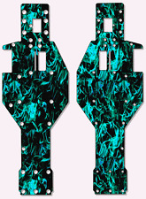 Traxxas Rustler - Chassis Plate Protector Kit - Light Blue Flames