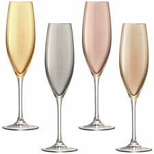 LSA International 225 Ml Polka Champagne Flute Assorted Pack of 4