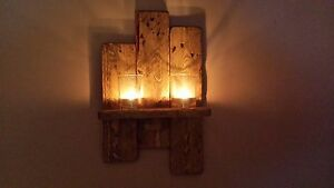 RUSTIC RECLAIMED PALLET WOOD  WALL SCONCE / CANDLE  HOLDER.