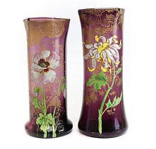 Pair Mont Joye Amethyst Art Glass Tall Vases Hand painted Raised Enamel Design