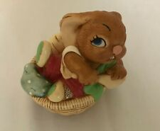 New ListingPendelfin Stonecraft Rabbit Figurine Paddling Basket Red Pants - Hand Painted