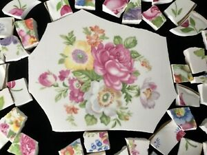 Broken China Mosaic Tiles SHABBY CHIC Garden LARGE FOCAL FLORAL & 60+ Pieces