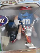 "M&M CANDY DISPENSER NIB ""RED WHITE AND BLUE"" 8"" TALL"