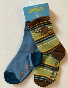 NWT Gymboree Night Forest 4-5 Raccoon Stripe & Blue Owl Socks Two-Pack 4T-5T