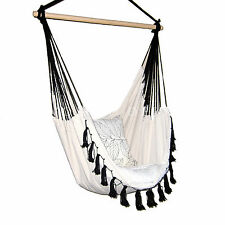 Deluxe Hanging HAMMOCK CHAIR Relax in Luxury Provincial Cream with Black Tassels