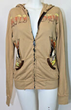 Small Jaded by Knight Light Brown Zippered Embroidered Jacket Skull Khaki Beige