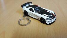Diecast Dodge Viper SRT10 ACR White Toy Car Keyring