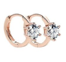 ROSE GOLD CZ CRYSTAL HUGGIE HOOP EARRINGS. 6MM