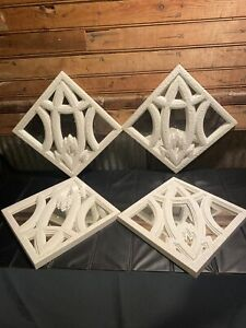 Lot Of 4 Piece Decorative Mirror Set, Wall Accent Display White