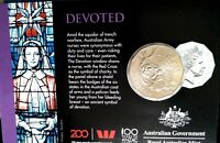 Australia  2018  The Anzac Spirit Values Collection  CARDED 50c Coin. DEVOTED