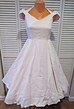NWT Hell Bunny 1950s Style White Swiss Dotted Eveline Swing Dress Sz L Pin UP