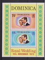 1973 Royal Wedding Princess Anne MNH Stamp Sheet Dominica SG MS396