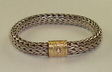 Mens Sterling Silver & 18k Yellow Gold Braided Bracelet by John Hardy, 80 Grams