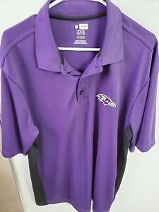 NFL Team Apparel Baltimore Ravens TX3 Cool Mens Purple Polo Shirt XL NWOT