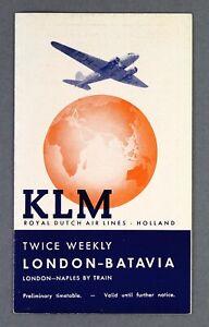 KLM ROYAL DUTCH AIRLINES AMSTERDAM - BATAVIA TIMETABLE JANUARY 1940 - WW2