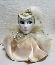 Vintage Porcelain Head Bust with Pink Feather Cap and Hanging Beads
