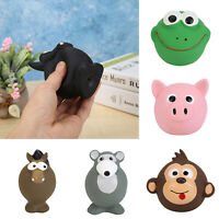 Pet Dog Cat Puppy Chew Squeaker Squeaky Latex Animal Head Shaped Play Sound Toy