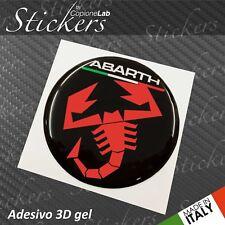 1 Adesivo Stickers Logo ABARTH Fiat  BLACK Red  ITA resinato 3D 70 mm auto