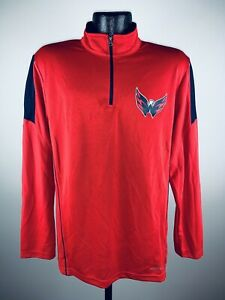 Men's Majestic Cool Base Red Status Inquiry Performance 1/4 Zip Hockey Pullover