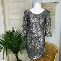 Lauren Conrad Women's Sequin Quarter Sleeve Bodycon Silver Dress Size Small
