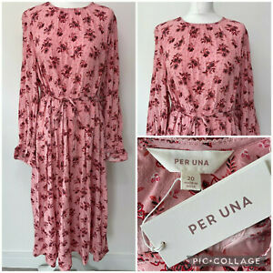 PER UNA Marks and Spencer Midi Kleid Größe 48 20 Pink Floral Relaxed Tie Front