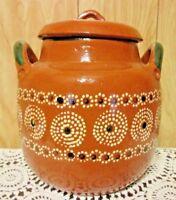 Traditional Vintage Ollas de Barro Mexican Red Clay Bean Pot 2 1/2 Gallon!!